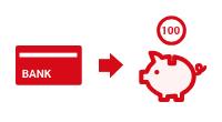 銀行→貯金箱